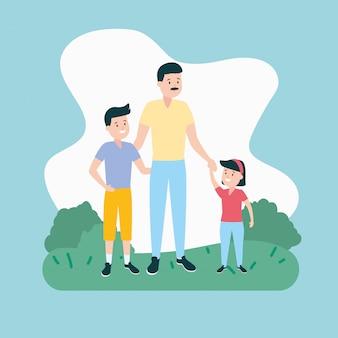 Padre con hijo e hija