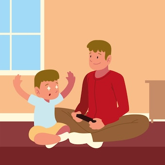 Padre hijo jugando videojuegos