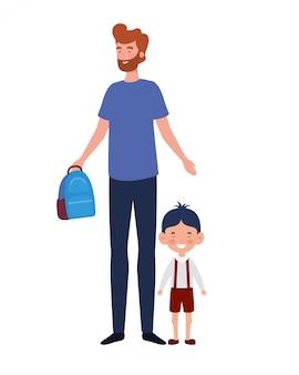 Padre con hijo de regreso a la escuela