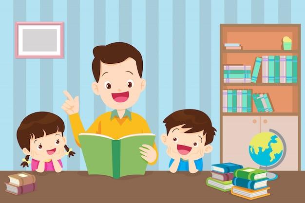 Padre con hijos leyendo libro