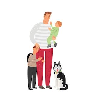 Padre con hijos y perro.