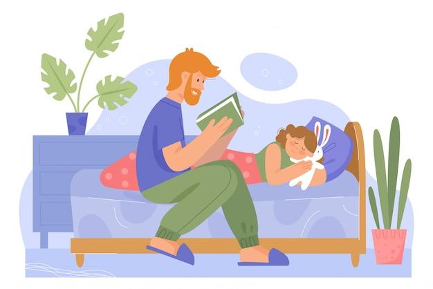 Padre con ilustración de tiempo de familia de hija.