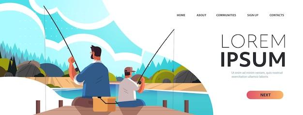 Padre joven que pesca con el concepto de paternidad de la crianza del hijo papá enseñando a su hijo a pescar en el fondo del paisaje de la naturaleza del lago ilustración de vector de espacio de copia horizontal de longitud completa