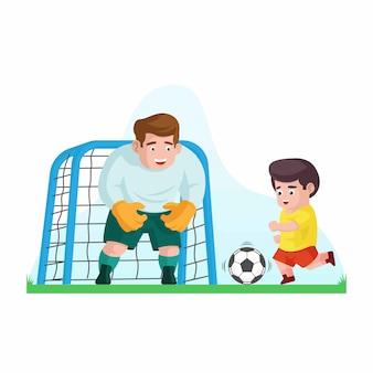Padre jugando fútbol soccer con su hijo.
