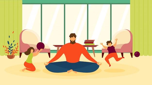 Padre en lotus pose en la sala de estar plana vector
