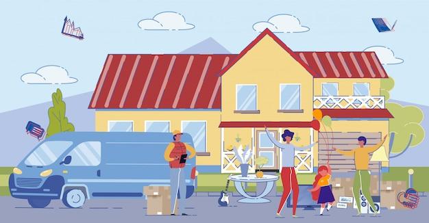 Padre, madre e hija se mudan a la casa en el suburbio