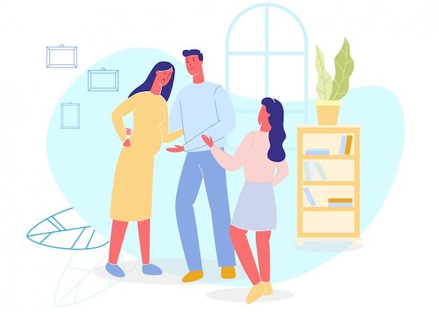 Padre, madre embarazada e hija en casa.