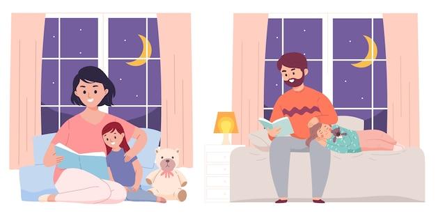 Padre y madre leen la cama del libro a su hija antes de dormir en la noche