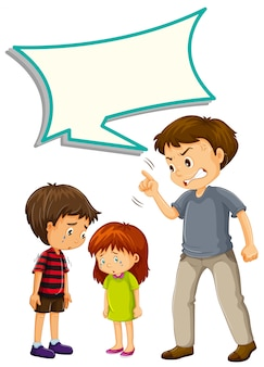 Padre molesto con los niños con globo de discurso
