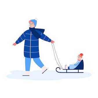 Padre montando en trineo a una niña sonriente feliz sentada en trineo ilustración