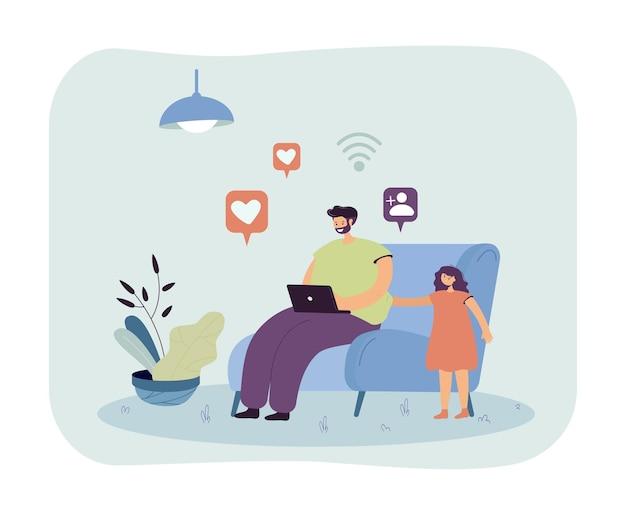Padre navegando por internet e ignorando a su hija