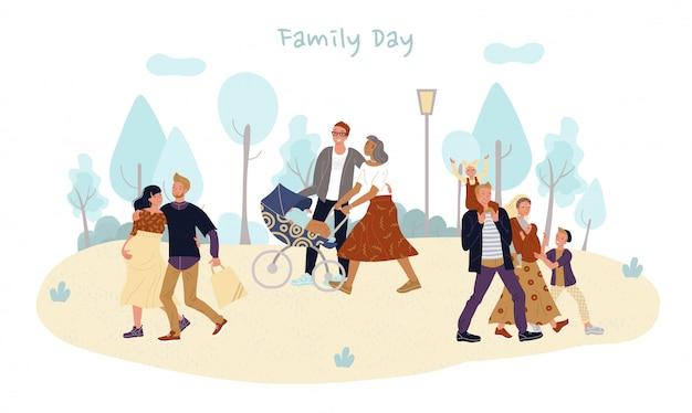 Padre niño bebé, familia pareja en caminata en el parque