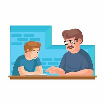Padre o maestro leyendo libros de la biblioteca con las manos del niño señalando - hijo o hija. feliz día del padre ilustración vectorial