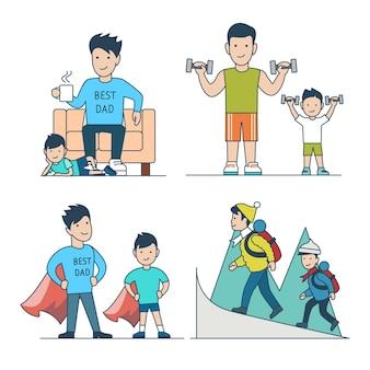 Padre de padre plano lineal con ilustración de vector de hijo de niños establece el tiempo de ocio en el hogar deporte super