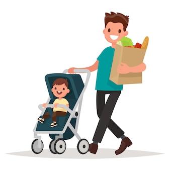 Padre con un paquete de productos y un niño pequeño en el cochecito. ilustración vectorial en un estilo plano