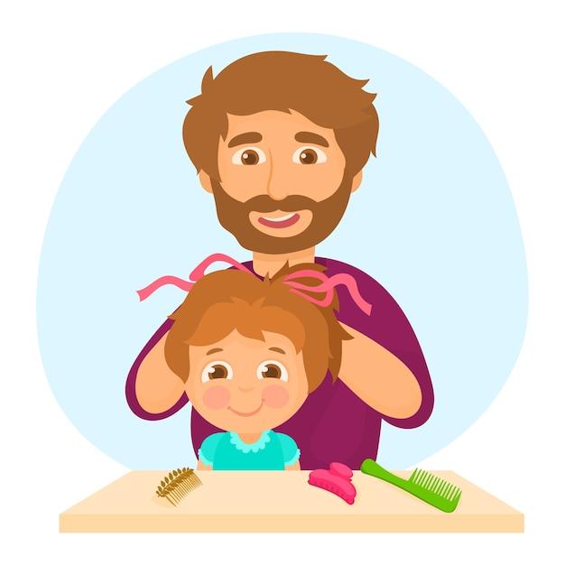 Padre peinando el cabello de su hija