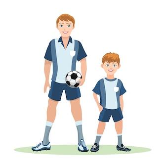 Padre con pelota e hijo de pie en campo verde, equipo de fútbol