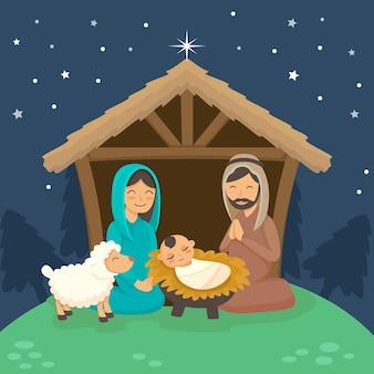 Padre rezando y madre feliz con niño dormido