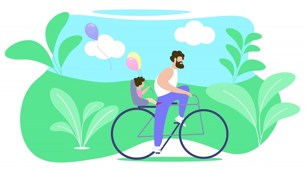 Padre rolls niño en bicicleta