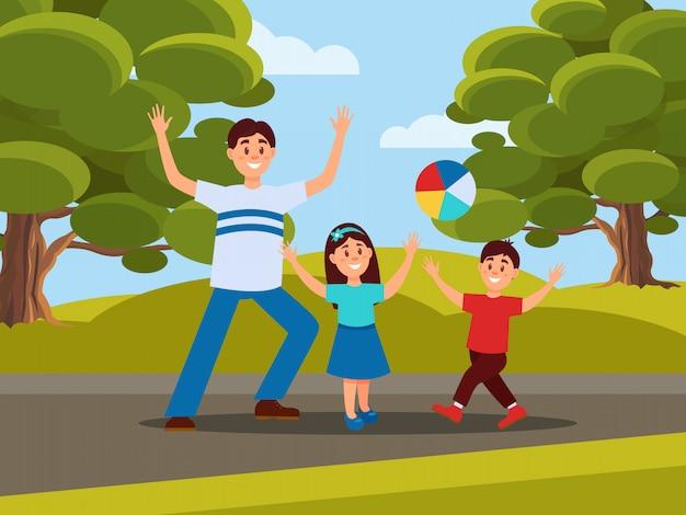 Padre con sus hijos jugando en la pelota. recreación familiar en el parque. concepto de paternidad. actividad al aire libre. cielo azul, grandes árboles verdes y pradera en el fondo. diseño plano