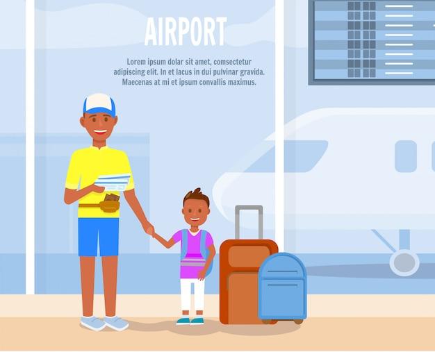 Padre viaja con personajes de dibujos animados de pequeño hijo.