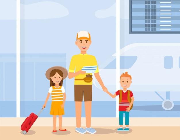 Padre viaja con personajes de hijo e hija.