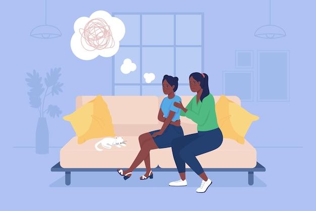Los padres apoyan la ilustración aislada del vector 2d del adolescente triste. el niño deprimido con la madre se sienta en el sofá. familia en casa personajes planos sobre fondo de dibujos animados. escena colorida del problema del adolescente