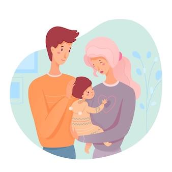 Padres con bebé mamá sostiene al bebé en sus brazos papá los abraza