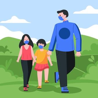 Padres caminando con niño con máscara