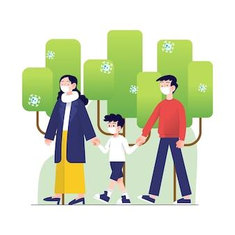 Padres caminando con sus hijos en el parque