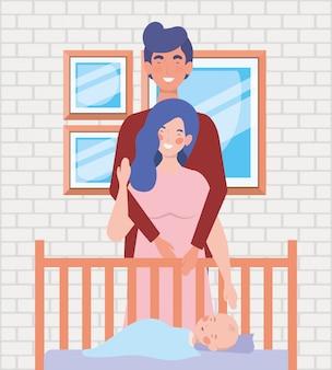 Padres cuidando recién nacido con cuna.