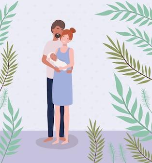 Padres cuidando recién nacidos con hojas.