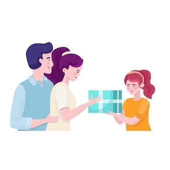 Padres dando presente a la ilustración hija. tiempo familiar juntos concepto plano.