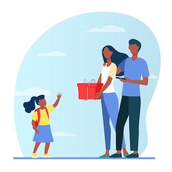 Padres dando regalo a la pequeña hija. pareja familiar y niño con ilustración plana de caja actual.