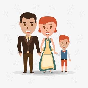 Padres de familia retro con su hijo