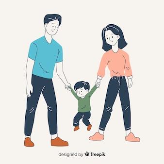 Padres e hijo en estilo de dibujo coreano
