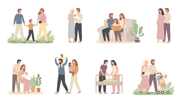 Padres e hijos. familia joven con bebé, mamá embarazada y padre con hijo conjunto de ilustraciones vectoriales
