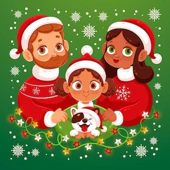 Padres e hijos con perro familia escena navideña