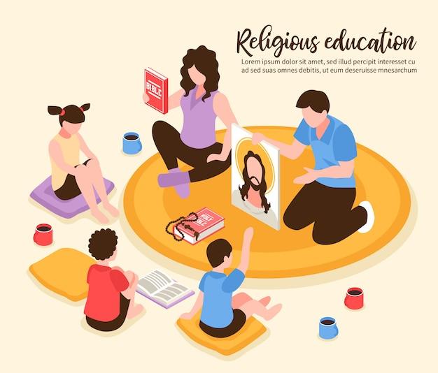Padres de educación religiosa católica en casa mostrando a los niños la biblia y el retrato de la ilustración isométrica de jesús