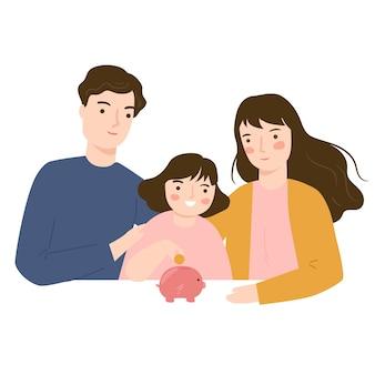 Los padres enseñan a los niños a ahorrar dinero. niño poniendo monedas en la hucha