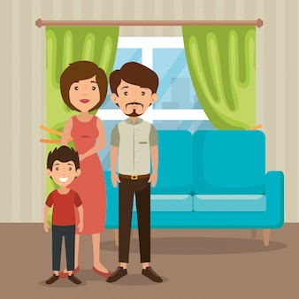 Padres de familia en la escena de la sala de estar