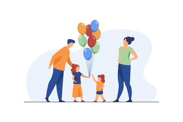 Padres felices y niñas con globos de aire. cumpleaños, hija, mamá ilustración vectorial plana. celebración y fiesta