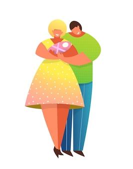 Padres felices sonriendo sosteniendo juntos al bebé recién nacido. pareja de padres jóvenes con abrazos de niños. mamá y papá con niño