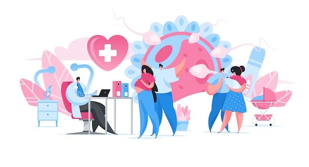 Padres felices visitando al médico en la clínica. ilustración de personas de dibujos animados
