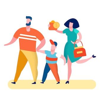 Padres con hijo ilustración vectorial de compras