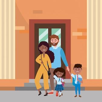 Padres con hijos que van a la escuela