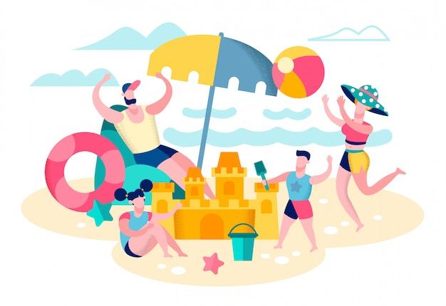 Padres jugando con niños en la playa plana vector
