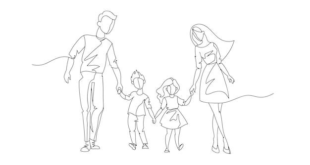 Padres de línea continua caminando con niños. familia feliz de una línea. personas de contorno al aire libre. personajes de crianza.