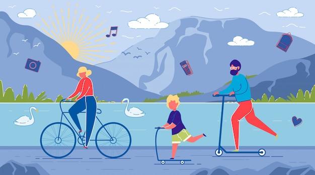 Padres y niños andan en bicicleta y scooters.