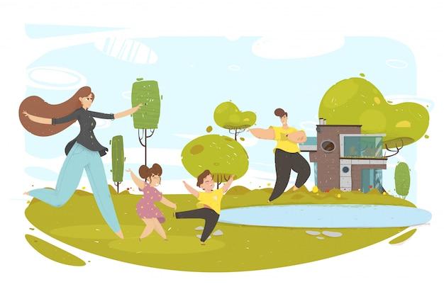 Padres niños corriendo en el parque o patio trasero de la casa.